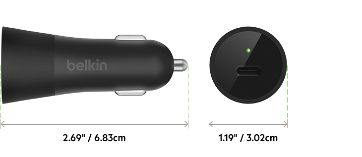 USB-C CAR CHARGER DIMENSIONS DIAGRAM
