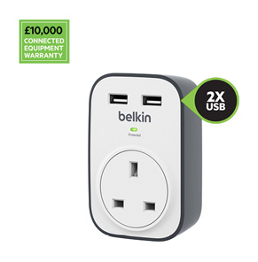Belkin BSV103 SurgeCube 1 Outlet Surge Protector with 2 x 2.4A Shared USB Charging, £10 000 Connected Equipment Warranty