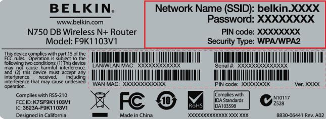 Belkin N450 DB Network Name (SSID) and a Password (WPA Key)
