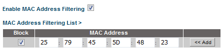 belkin n750 mac address filtering