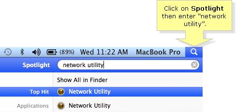 Network Utility Spotlight search