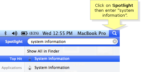 System Information Spotlight search