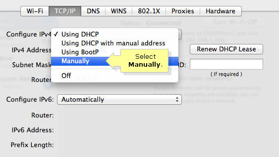 how to change computer ip address manually